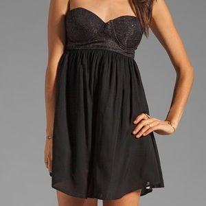 One Teaspoon Strapless Black Dress